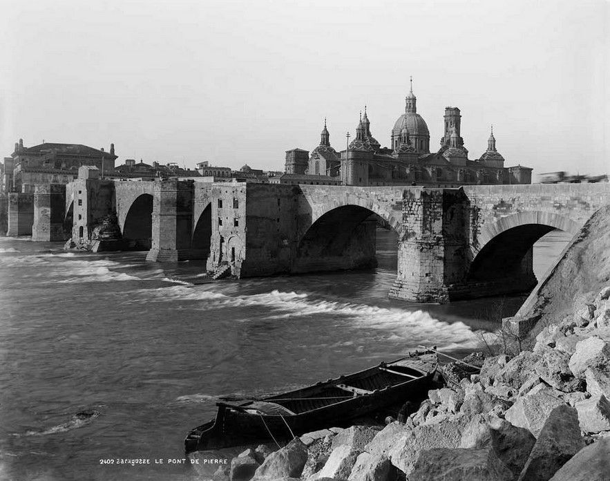 Fotografias antiguas de Zaragoza - Ebro y Pilar en construccion 1889