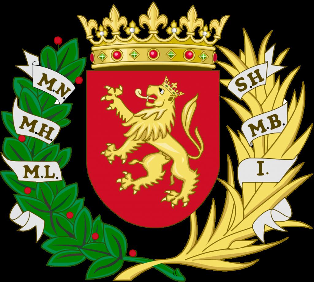 Escudo de armas de Zaragoza con el laurel representativo de la victoria de la Cincomarzada en Zaragoza
