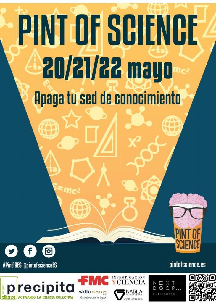 Cartel del pint of science 2019 en España no dudes en visitar su página para ver todos los bares