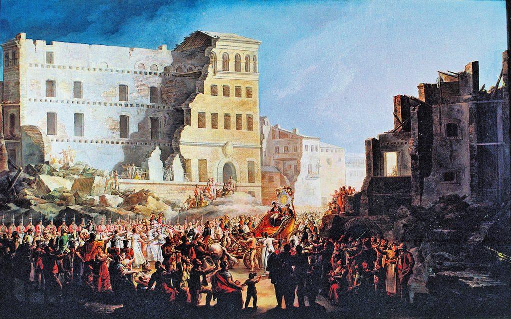 Palacio de Sástago en 1814, tras la guerra de la Independencia