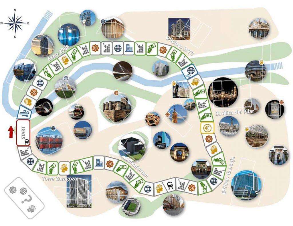 Tablero del juego de mesa Mañópolis, de Zaragoza