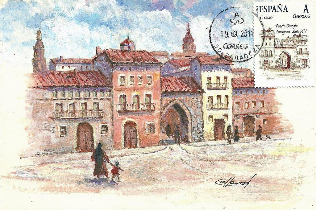 Representación de la puerta Cinegia, una de las 12 puertas de Zaragoza