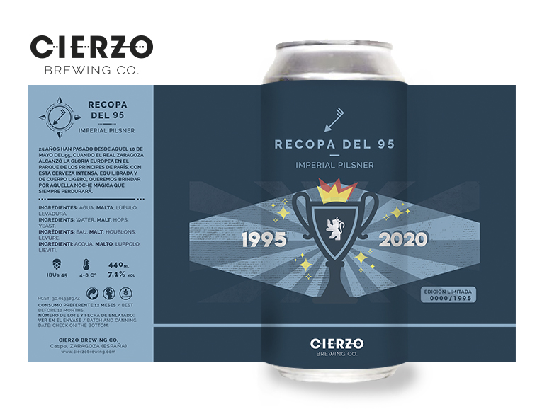 Etiqueta de la cerveza de la Recopa, obra de la ilustradora Eva Felipe