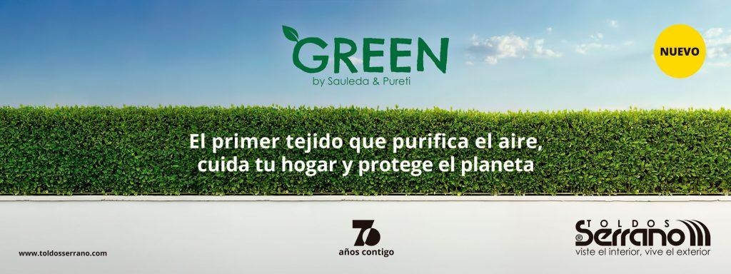 Green fabricado por Sauleda y Pureti - Distribuido por Toldos Serrano - Tejido que purifica el aire, cuida tu hogar y protege el planeta