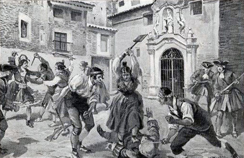 Imagen de los tumultos en Zaragoza en 1705, donde los jóvenes llevan puesto el cachirulo