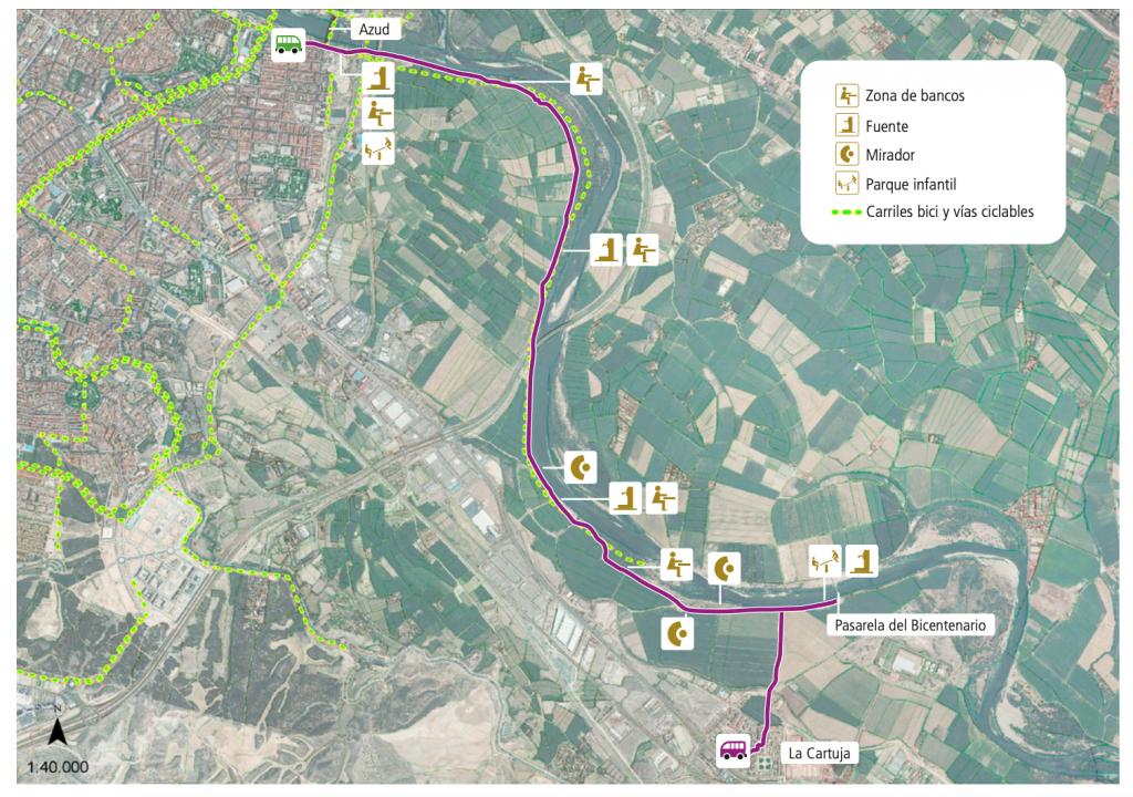 La última de las rutas en bici sin salir de Zaragoza, por el camino natural del Ebro hasta la Cartuja