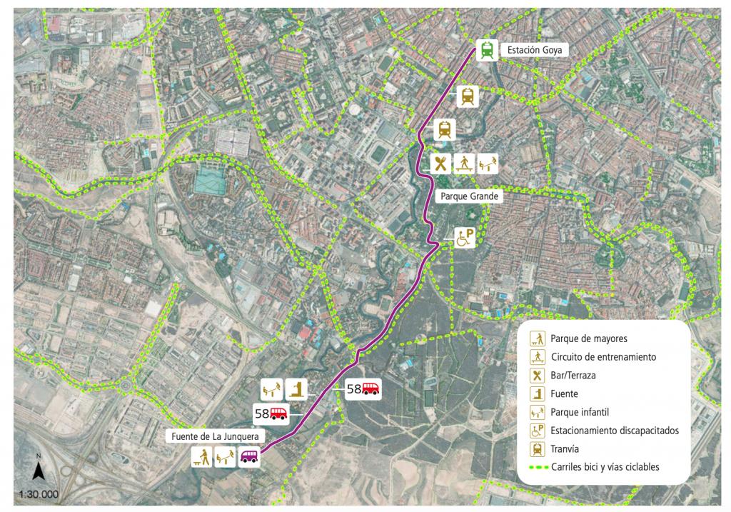 Mapa de la ruta desde la estación de Goya hasta la fuente de la Junquera