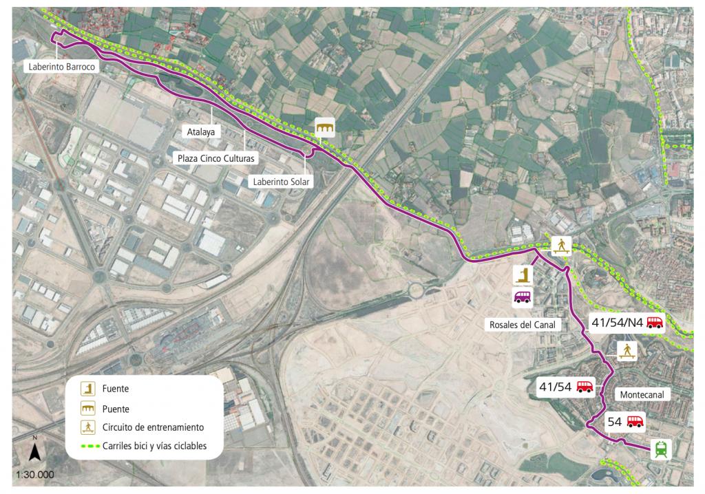 Rutas en bici sin salir de Zaragoza, mapa de la ruta de Valdespartera al parque de Plaza