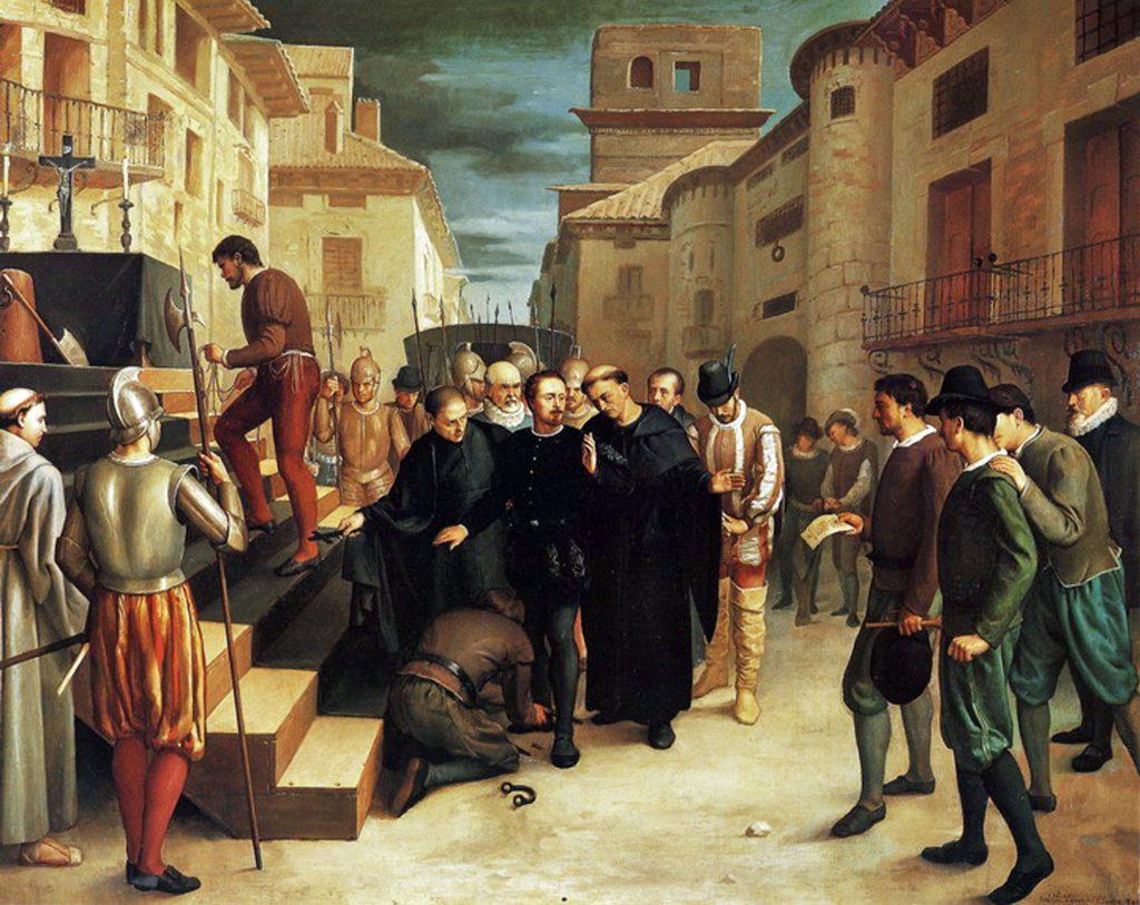 Últimos momentos de Juan de Lanuza durante las Alteraciones de Aragón en 1591.